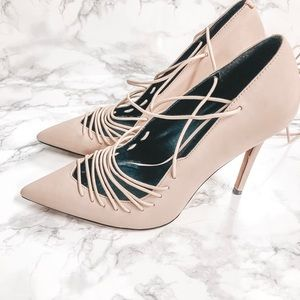 Aldo Pink Nude Lace Up Heels